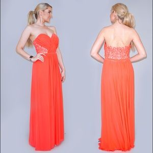 La Femme Coral Pink Evening Gown Prom Dress